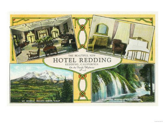Hotel Redding Interior Views with Scenic Sites - Redding, CA-Lantern Press-Art Print
