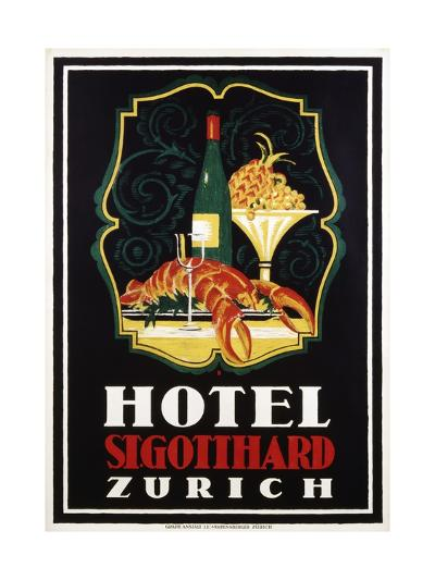 Hotel St. Gotthard Zurich Poster-Otto Baumberger-Giclee Print