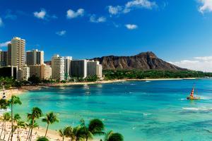 Hotels on the beach, Waikiki Beach, Oahu, Honolulu, Hawaii, USA