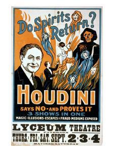 Houdini, Poster Art for Magic Show by Harry Houdini, 1909