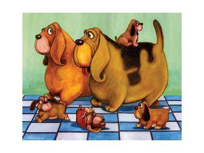 Hounddog Family Picnic-Kourosh-Art Print