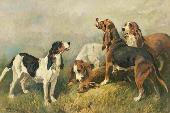 Hounds with a Hare-John Emms-Giclee Print