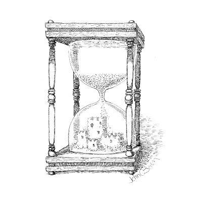 Hourglass and sandcastle - Cartoon-John O'brien-Premium Giclee Print