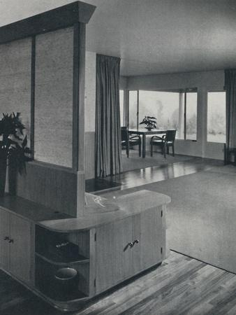 'House at Pomona, California...looking across the living room', 1942-Unknown-Framed Photographic Print