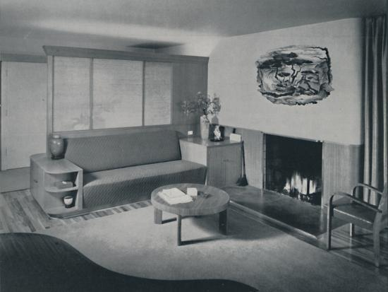 'House at Pomona, California - the living room from the other side of the partition', 1942-Unknown-Photographic Print
