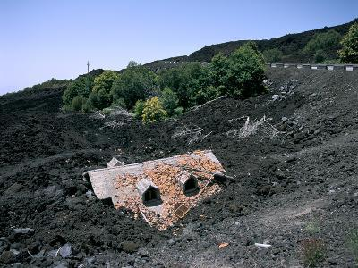 House Destroyed by Lava Flow, Mount Etna, Sicily, Italy-Peter Thompson-Photographic Print