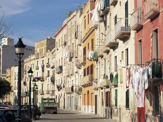 House Fronts and Laundry, Trapani, Sicily, Italy-Ken Gillham-Photographic Print