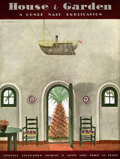House & Garden Cover - April 1931-Georges Lepape-Premium Giclee Print