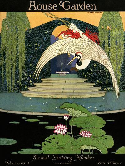 House & Garden Cover - February 1921-H. George Brandt-Premium Giclee Print
