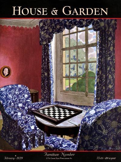 House & Garden Cover - February 1929-Pierre Brissaud-Premium Giclee Print