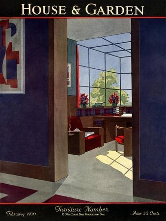 House & Garden Cover - February 1930-Jean Pag?s-Premium Giclee Print