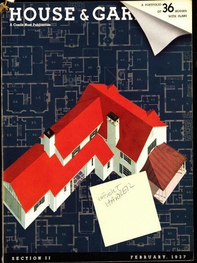 House & Garden Cover - February 1937-Robert Harrer-Premium Giclee Print