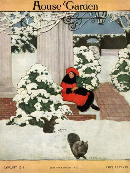 House & Garden Cover - January 1917-Ethel Franklin Betts Baines-Premium Giclee Print