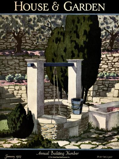 House & Garden Cover - January 1927-Pierre Brissaud-Premium Giclee Print