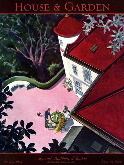 House & Garden Cover - January 1930-Walter Buehr-Premium Giclee Print