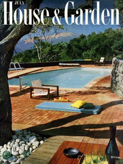 House & Garden Cover - July 1957-Georges Braun-Premium Giclee Print