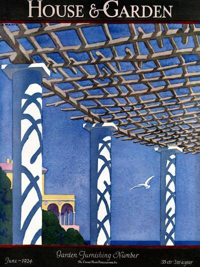 House & Garden Cover - June 1924-Andr? E. Marty-Premium Giclee Print