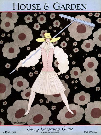 House & Garden Cover - March 1928-Georges Lepape-Premium Giclee Print