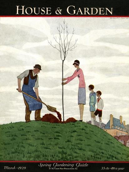 House & Garden Cover - March 1929-Andr? E. Marty-Premium Giclee Print