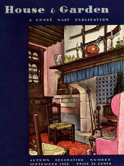 House & Garden Cover - September 1930-Pierre Brissaud-Premium Giclee Print