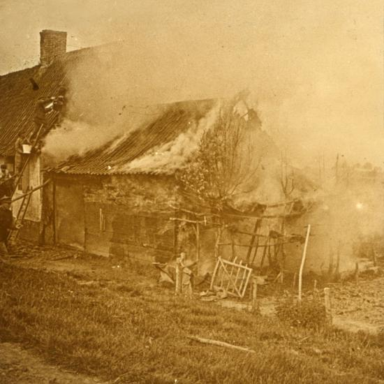 House hit by a shell, c1914-c1918-Unknown-Photographic Print