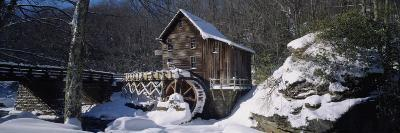 House in a Snow Covered Landscape, Glade Creek, Grist Mill Babcock State Park, West Virginia, USA--Photographic Print