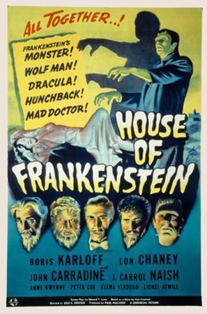 House of Frankenstein, Boris Karloff, Lon Chaney Jr., John Carradine, J. Carrol Naish, 1944