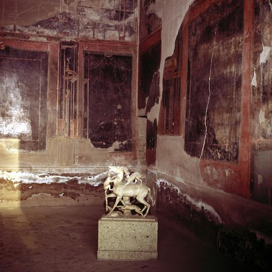 House of the Stags, Herculaneum, Italy; interior of the Roman villa. Artist: Unknown-Unknown-Giclee Print