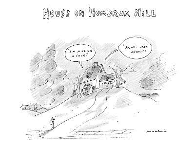 House on Hum-Drum Hill features a plain house atop a hill with thought bub? - New Yorker Cartoon-Michael Maslin-Premium Giclee Print
