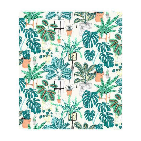 House Plants Teal-Jacqueline Colley-Giclee Print