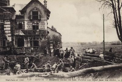 House with a River Flowing Beneath It, Noyon, France, World War I--Photographic Print