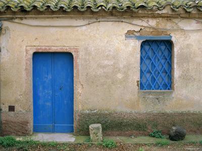 House with Blue Door and Window, Bagia, Sardinia, Italy, Mediterranean, Europe-Oliviero Olivieri-Photographic Print