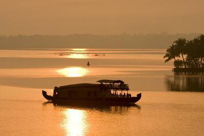 Houseboat at Dusk in Ashtamudi Lake, Kollam, Kerala, India, Asia-Balan Madhavan-Photographic Print
