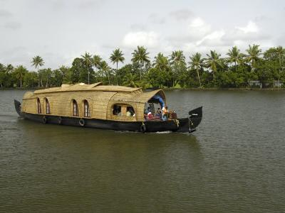Houseboat in the Backwaters of Alleppey, Kerala, India, Asia-Balan Madhavan-Photographic Print