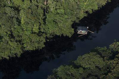 Houseboat on River. Potaro-Siparuni Region. Brazil, Guyana Border, Guyana-Pete Oxford-Photographic Print