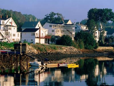 Houses along Boothbay Harbor, Boothbay, Maine-John Elk III-Photographic Print