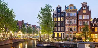 Houses Along Canal at Dusk at Intersection of Herengracht and Brouwersgracht, Amsterdam