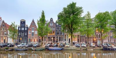 Houses and Boats Along the Herengracht Canal, Amsterdam, North Holland, Netherlands