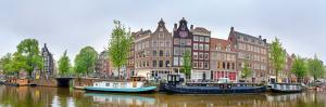 Houses and Canal Boats Along the Prinsengracht, Amsterdam, North Holland, Netherlands