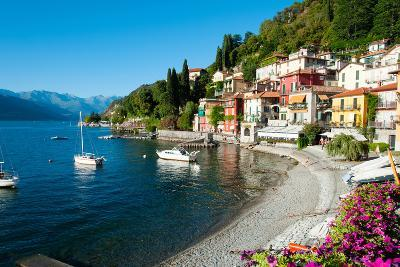 Houses at Waterfront with Boats on Lake Como, Varenna, Lombardy, Italy--Photographic Print