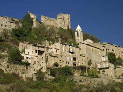 Houses, Church and Old Walls at Montbrun Les Bains in Drome, Rhone-Alpes, France, Europe-Michael Busselle-Photographic Print