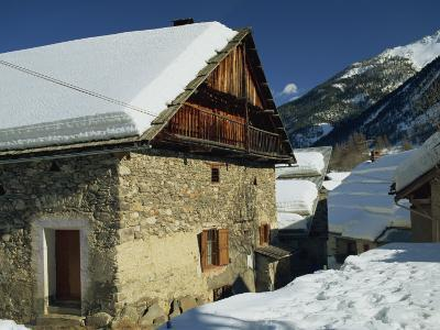 Houses Covered in Snow in the Village of Nevache Near Briancon, French Alps, France, Europe-Michael Busselle-Photographic Print
