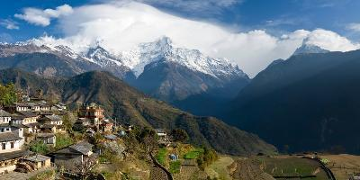 Houses in a Town on a Hill, Ghandruk, Annapurna Range, Himalayas, Nepal--Photographic Print