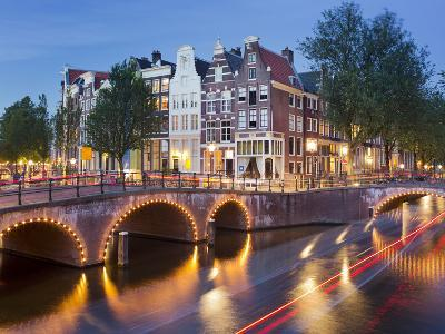 Houses in the Keizersgracht, Reguliersgracht, Lights, Reflexion, in the Evening-Rainer Mirau-Photographic Print