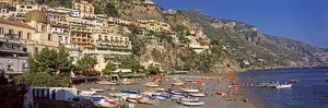Houses in the Village on a Hill, Spiaggia Di Marina Grande, Positano, Amalfi Coast, Italy