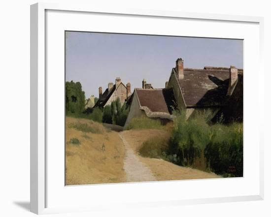 Houses near Orléans. c.1830-Jean-Baptiste-Camille Corot-Framed Giclee Print