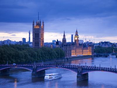 Houses of Parliament and River Thames, London, England, UK-Jon Arnold-Photographic Print