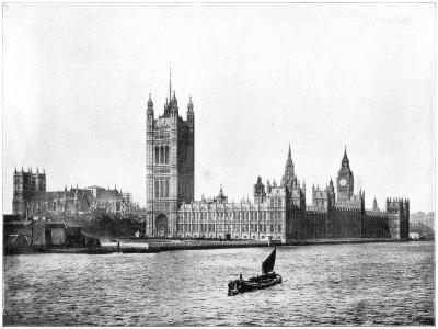 Houses of Parliament, London, Late 19th Century-John L Stoddard-Giclee Print