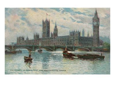 Houses of Parliament, Westminster Bridge, London, England--Art Print