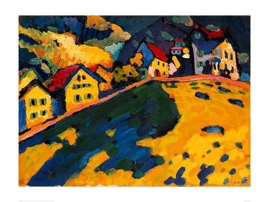 Houses on a Hill, 1909-Wassily Kandinsky-Giclee Print